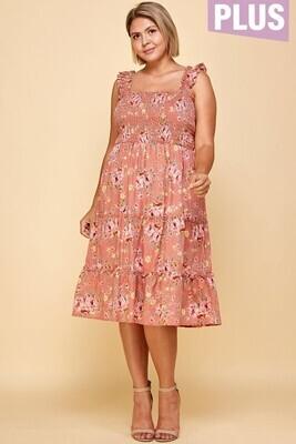 Terracotta Floral Smocked midi dress