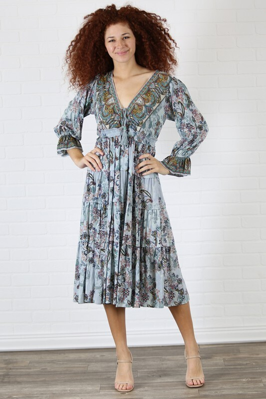 Angie V-neck dress mid length