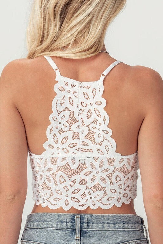Trendnotes Floral Crochet Lace Racerback bralette