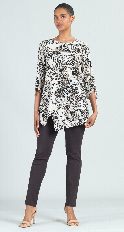 CSW Animal palm print soft knit tunic
