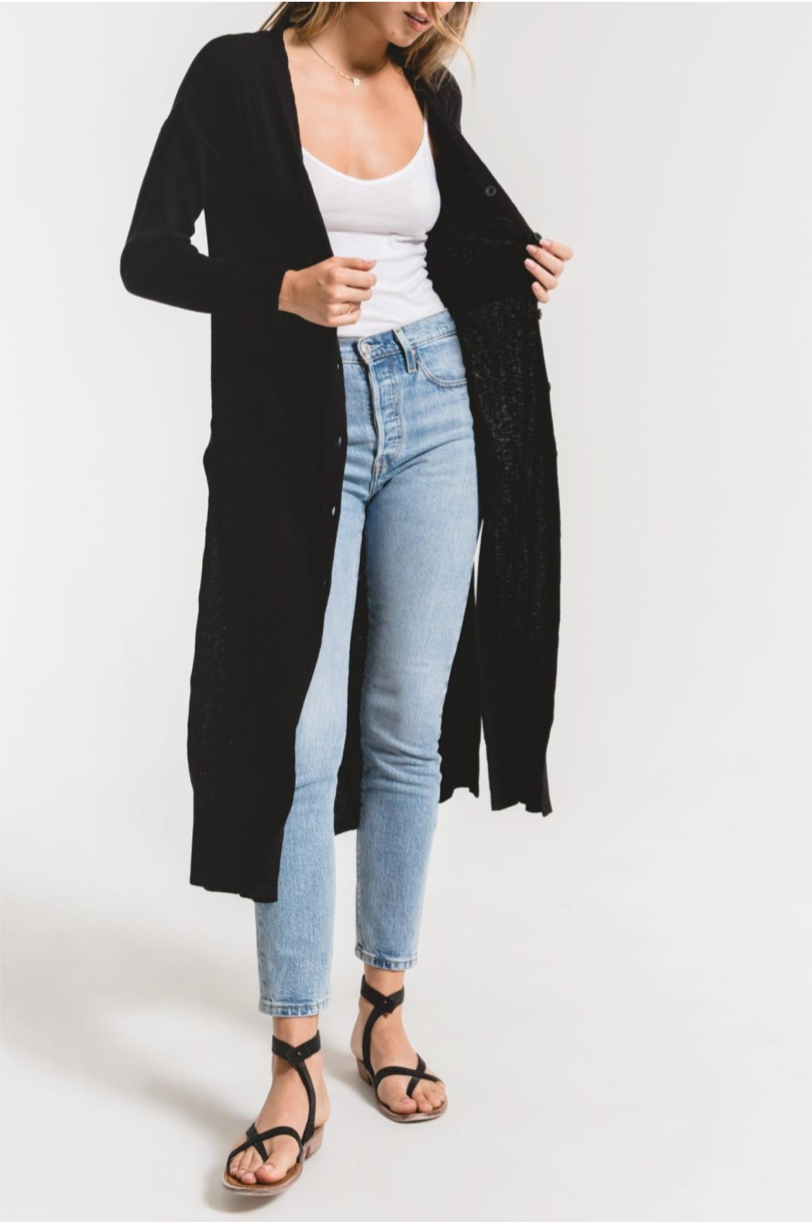 ZS The textured rib duster cardigan