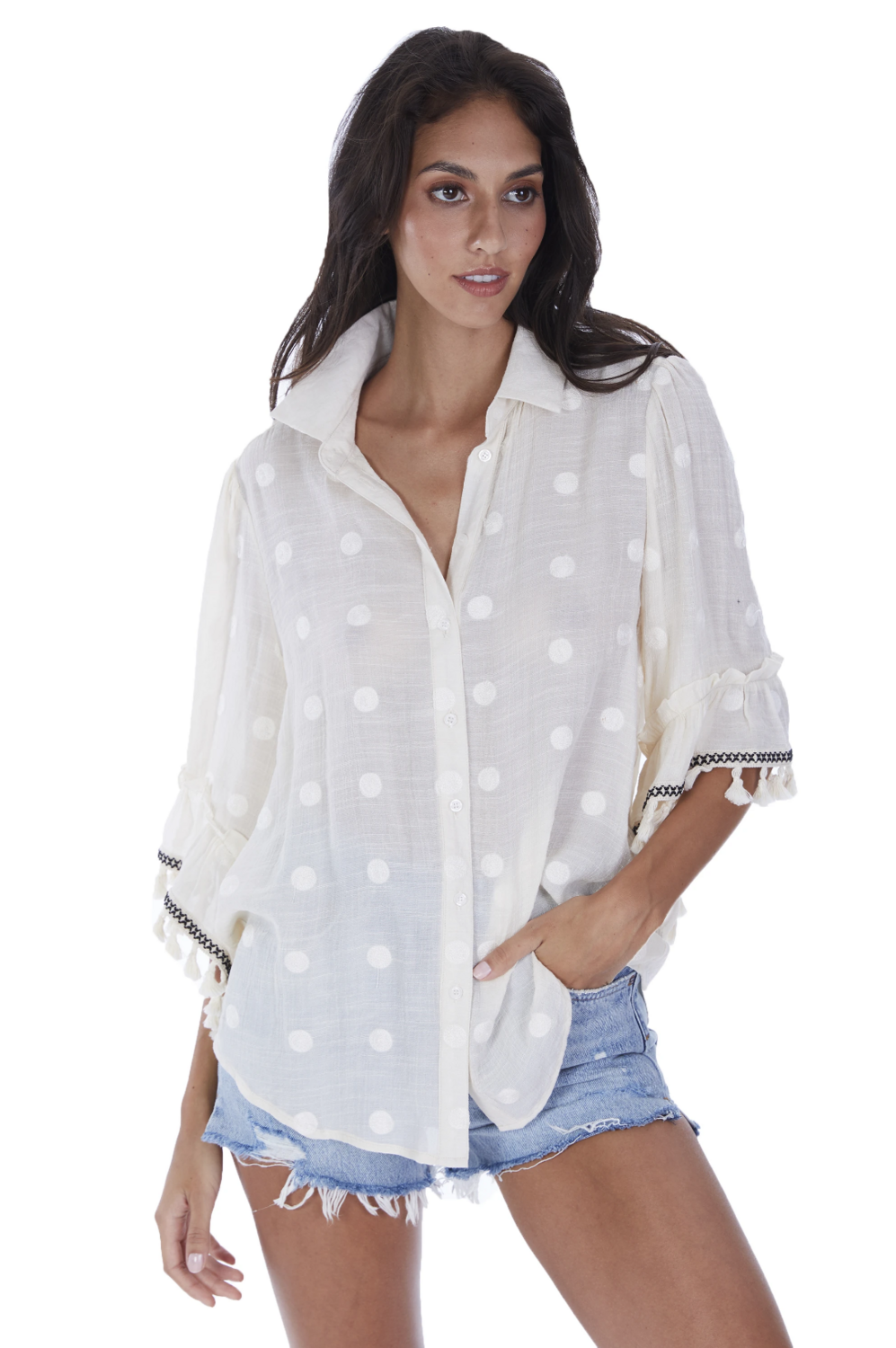 Allison Polka dotted blouse w/ bell sleeves