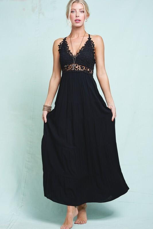 LA Miel Beautiful long boho crochet lace dress