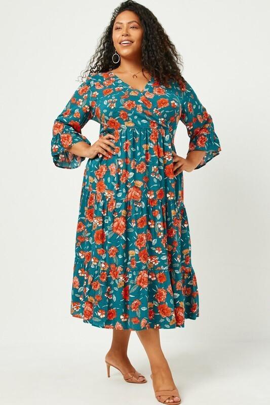 Hayden L/S Floral ruffle dress