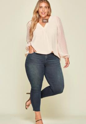 Andree sleek blouse w/polka dot sleeve