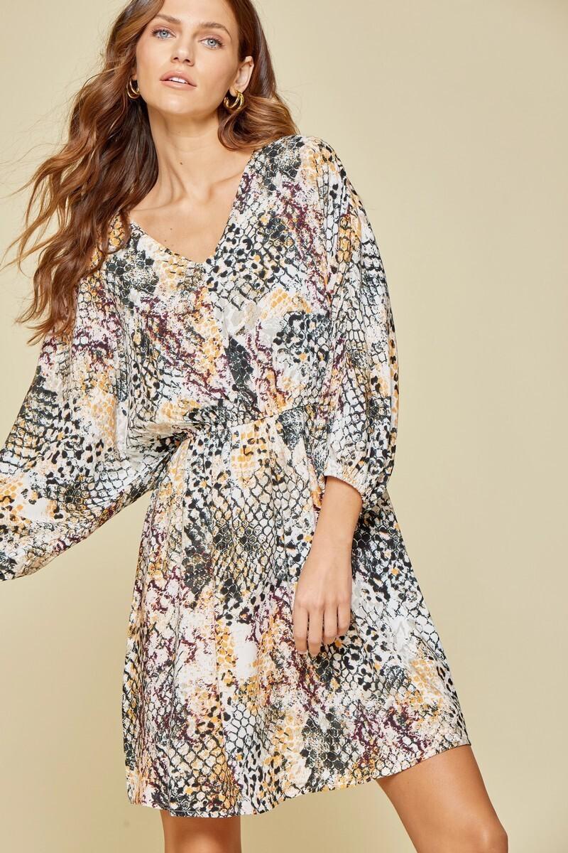 Andree Savana jane Rust&mustard printed dress
