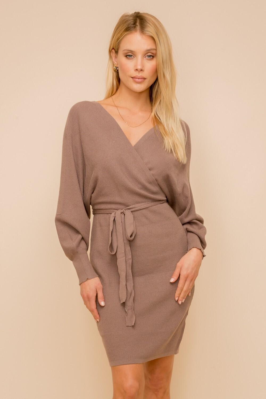 Hem&Thread V-neck dolman sweater mini dress