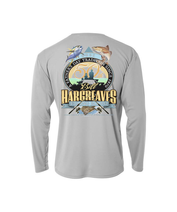2021 50th Anniversary Hargreaves Fishing Rodeo YOUTH Long sleeve Performance Shirt