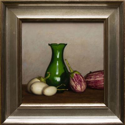 Eggplants and Green Vase