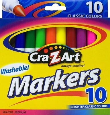 Marcadores con tinta lavable - paquete de 10 unidades