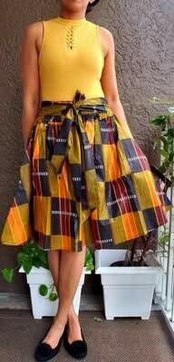 Burgundy Kente Mid-Length Skirt
