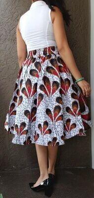 Ivory Peacock Mid-Length Skirt
