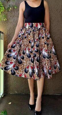 White Peacock Mid-Length Skirt
