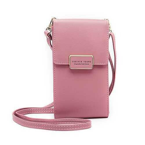Women Large Capacity PU Leather Zipper Card Slot Messenger Bag Crossbody Bag Wallet for Mobile Phone