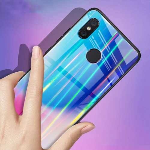Bakeey Laser Aurora Gradient Tempered Glass Shockproof Protective Case For Xiaomi Mi8 SE 5.88 Inch
