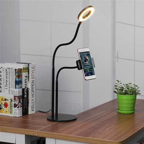 Universal Live Stream Fill Light Desktop Phone Holder Selfile Stand for iPhone Xiaomi Mobile Phone