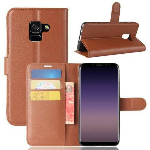 Litchi PU Leather Flip Card Slots Bracket Wallet Case for Samsung Galaxy A8 Plus 2018