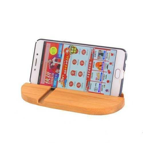 Universal Bamboo Dual Slots Desktop Bracket Phone Holder Stand for Mobile Phone Tablet