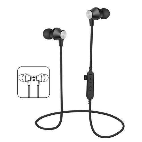 Mykind T2 bluetooth Earphone Magnetic Adsorption Heavy Bass TF Card Sports Headphone Earbuds