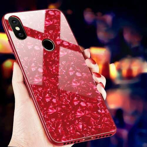 Bakeey Shell Bling Glossy Tempered Glass Soft Edge Protective Case for Xiaomi Mi8 SE 5.88 inch