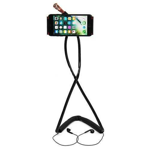 """Bakeey?""""? Earphone + Microphone Neck Hanging Phone Stand Lazy Holder for iPhone Xiaomi Mobile Phone"""