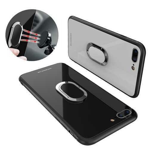Bakeey 360?° Rotation Ring Kickstand Magnetic Glass Protective Case for iPhone 7/7 Plus/8/8 Plus