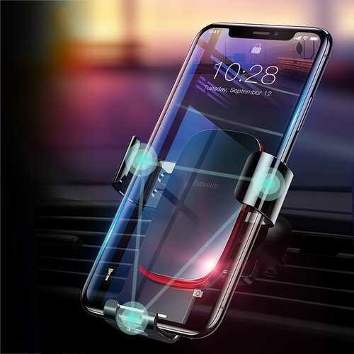 Baseus Metal Gravity Auto Lock Car Mount Air Vent Holder Stand for iPhone 8 Mobile Phone