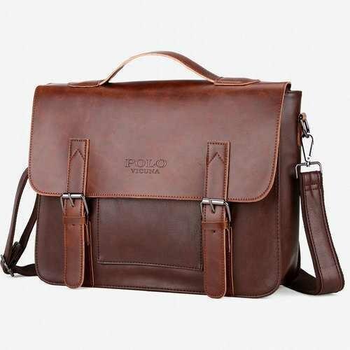 Men Vintage PU Leather Messenger Bag Laptop Briefcase Handbag 14 Inch