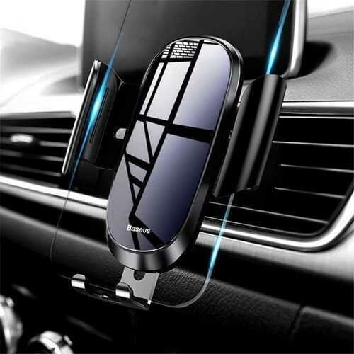 Baseus Tempered Glass Mirror Surface Gravity Auto Lock Car Holder Stand for Mobile Phone