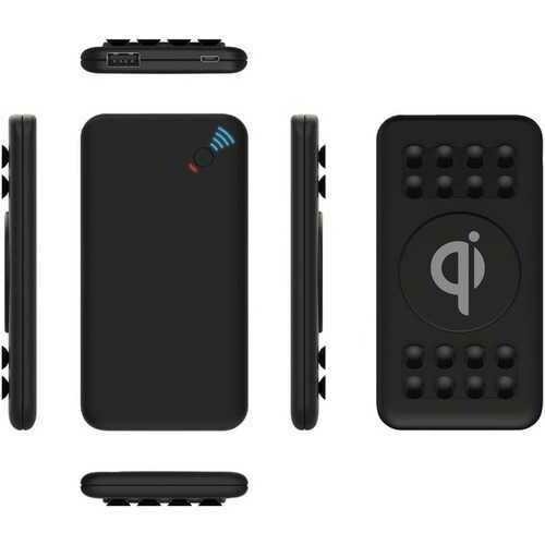 SUPERSONIC(R) SC-6005QIPB Qi Wireless Charging Box with Suction Cups and USB Output