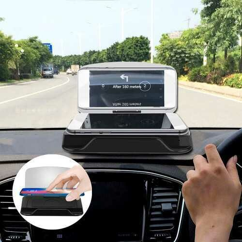 Universal Qi Wireless Charge HD Navigation Head Up Display Car Mount Dashboard Holder for Cell Phone
