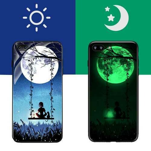 Bakeey 3D Night Luminous Glass Protective Case for iPhone 7/7 Plus/8/8 Plus