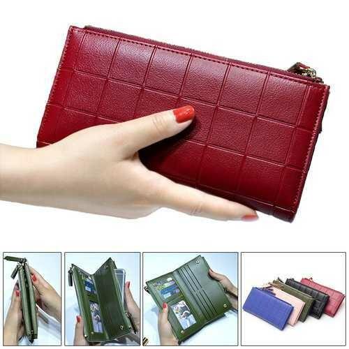 Women Fashion PU Leather Zipper Pouch Long Wallet for Samsung Xiaomi Mobile Phone Under 5.5 Inch Non-original