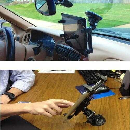 360 Rotating Car Wind Shield Desk Mount Bracket Holder For iPad