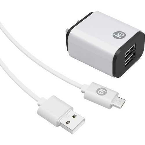 iEssentials IEN-ACC-22A 2.4-Amp Dual-USB Wall Charger with USB-A to USB-C Cable, 4ft