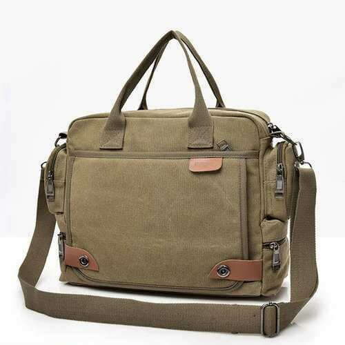 Men Multi-function Canvas Business Laptop Bag Briefcase Handbag Shoulder Bag
