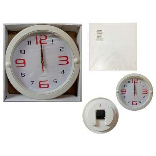 """Case of [24] 10"""" Round Wall Clock - White"""