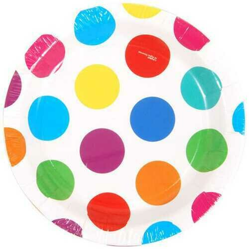 """Case of [36] Multi-Color Polka Dot Printed Plates (7"""" Round)"""