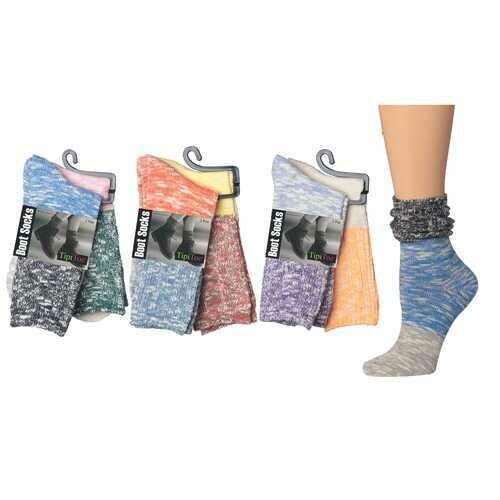 Case of [36] Women's Colored Block Crew Socks - 2 Pair