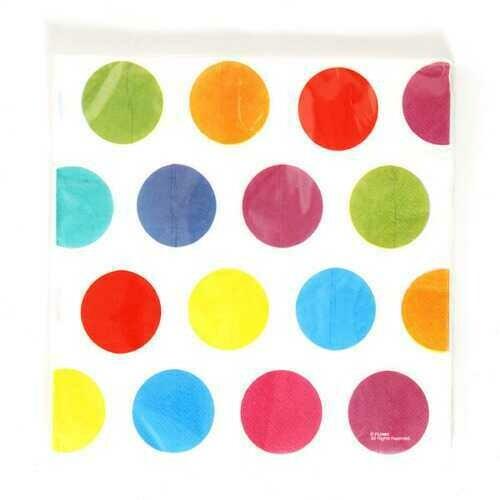 Case of [36] Multi-Color Polka Dot Printed Napkins