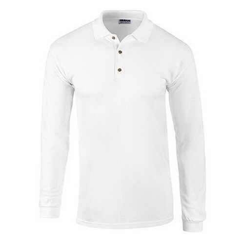 Case of [12] Gildan First Quality - Gildan Style 3400 7.0 Oz. Adult Pique Long Sleeve Sport Shirt - White - Large