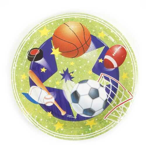 """Case of [36] Sports Pattern Printed Plates (9"""" round)"""
