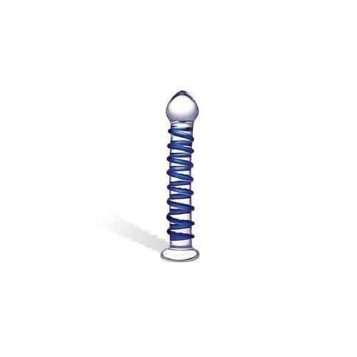 Blue Spiral Glass Dildo