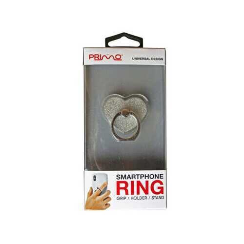 Primo Universal Silver Heart Glitter Smartphone Ring ( Case of 20 )