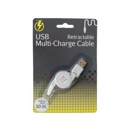 iPhone Retractable USB Multi-Charge Cable ( Case of 30 )