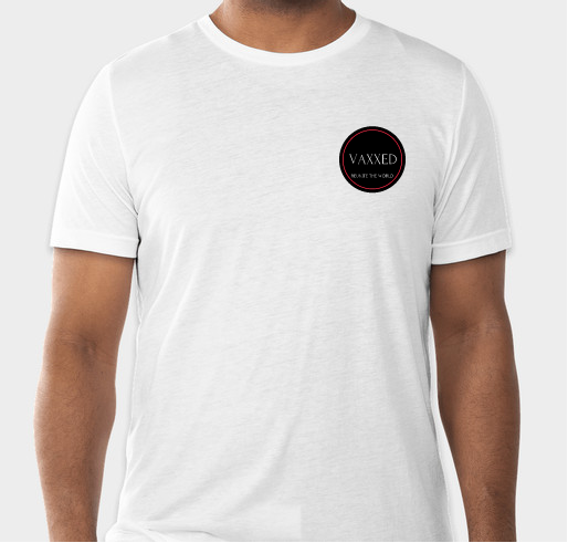 Womens white summer t-shirt with vaccination badge