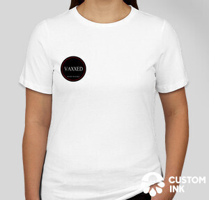 Womens white t-shirt with vaccination badge