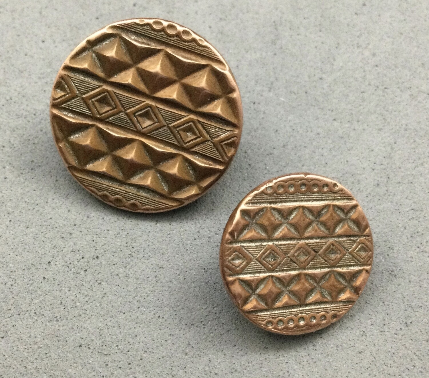 Mother/Daughter Pair of Patterned Copper