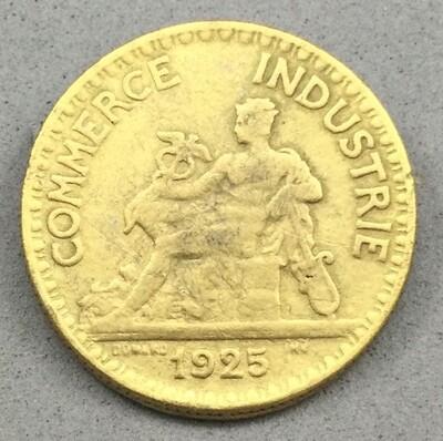 Golden Bronze 2 Francs Button