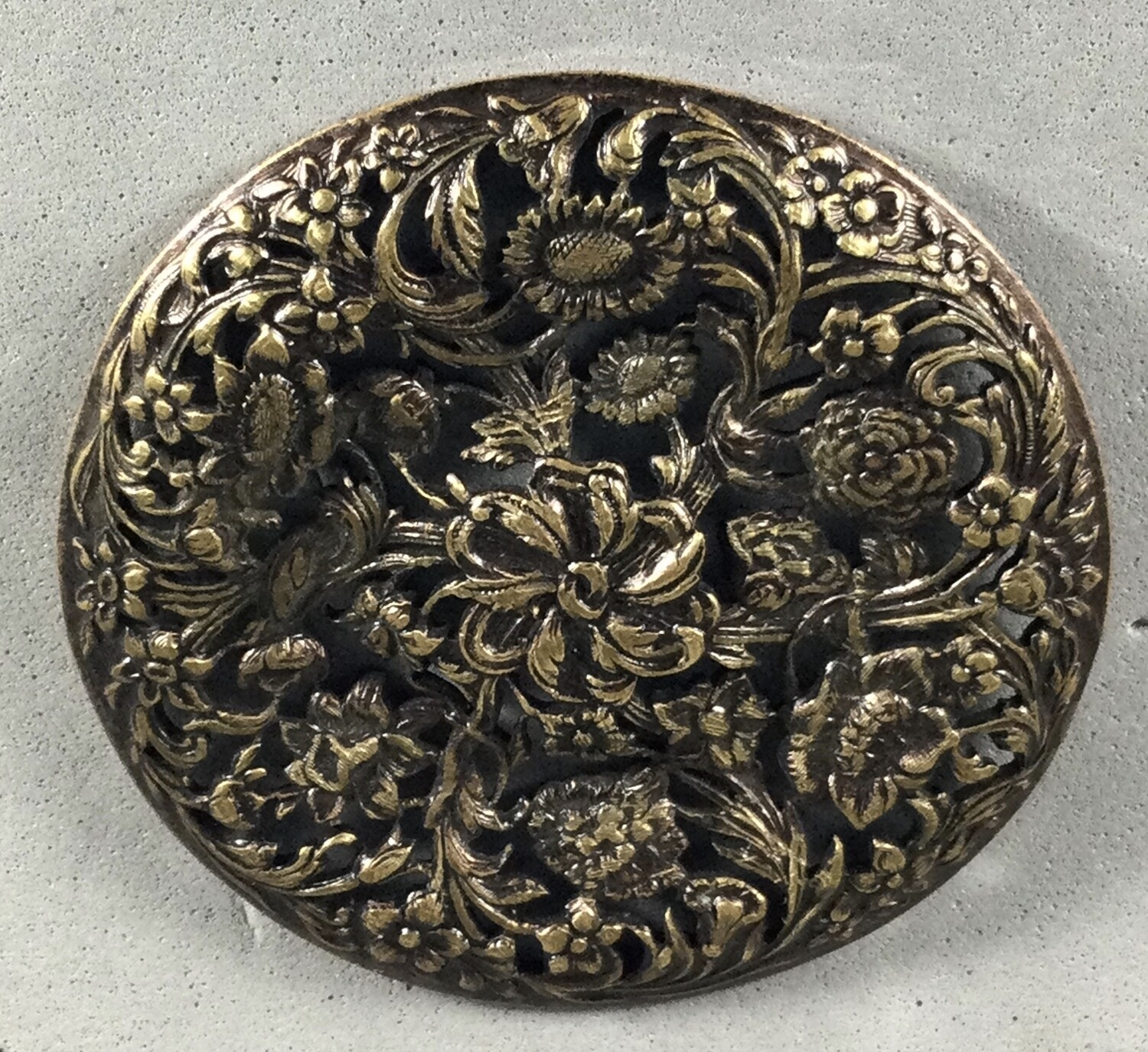 Extra Large Floral Openwork Brass